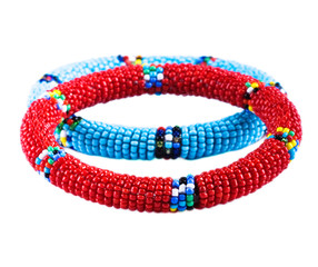 Traditional African bracelets from multicolor beads