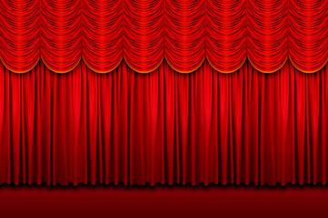 Wall Mural - Large red stage curtains with yellow border