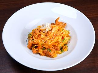 Italian pasta plate (Tagliatelle with rabbit ragout)