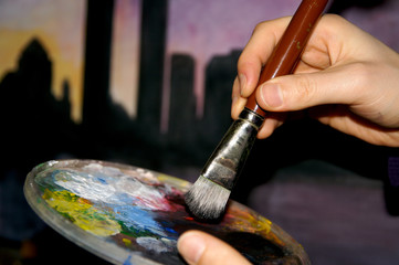 Palette mit Pinsel