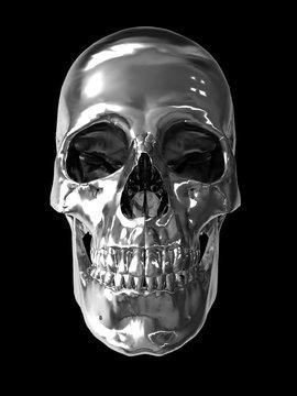 chrome metallic skull 3d computer generated image