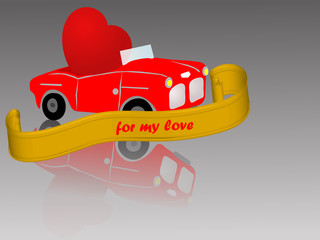 Red car with heart