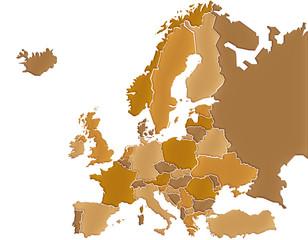 Carte Europe Camaieu Marron