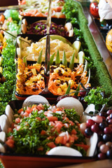 fresh vegetable and fruit salads restaurant display, food series
