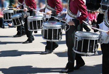 The high school drummers pound out the beat