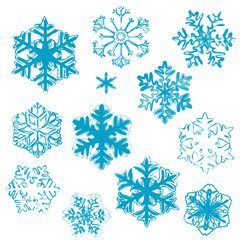 Various  stylized designs of snowflakes for winter illustration