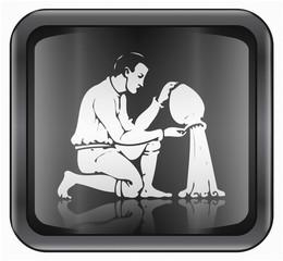 Aquarius zodiac icon, isolated on white background