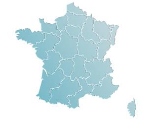 Carte France Camaieu Bleu Gris