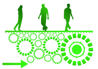 green people pushing recycling cogs