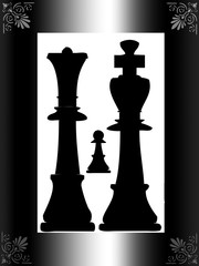 Chess pieces in silhouette framed