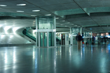 Lisbon subway - Detail of a underground station with motion blur