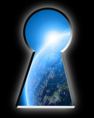 Keyhole looking down to planet