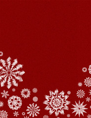 Red background with white grunge snowflakes