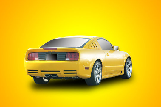 yellow sports car in yellow background