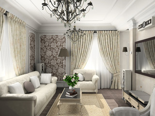 living-room with the classic furniture. 3D render. Living-room.