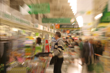 Supermarket on rush hour, Zoom camera effect