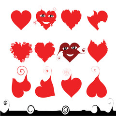 12 hearts of different shape