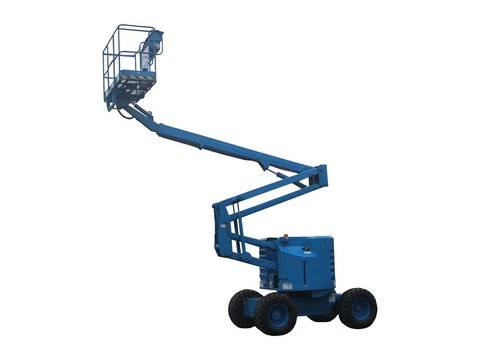 A Blue Mechanical Lift - Cherry Picker.