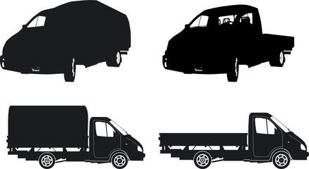 Vector trucks silhouette set