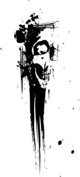 Vector grunge skull background illustration