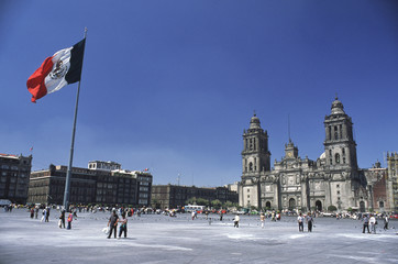 El Zocalo in Mexico City, with Cathedral and flag