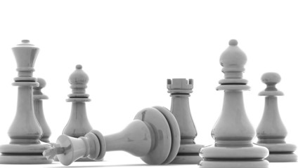 Chess pieces with clipping path , 3d render