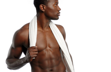 Young African American Male with towel