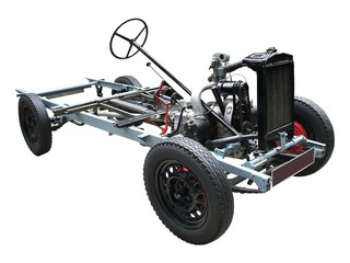 A Car Chassis and Engine.