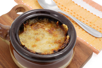 Bowl of delicious homemade French onion soup.
