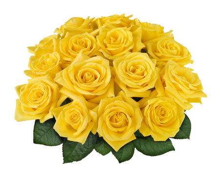 Yellow rose bouquet isolated on white with clipping path
