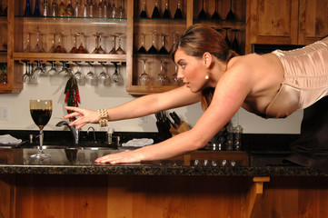 woman desparate for wine on bar