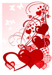 illustration of valentine hearts on white