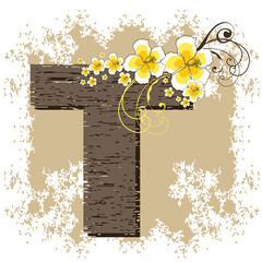 yellow hibiscus grunge vintage alphabet T
