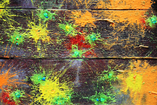 Spots of a paint on old boards