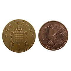 One Penny vs One Euro Cent