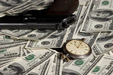 clock, watch and lot of money