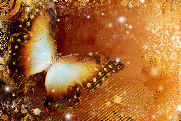 Photo sur Aluminium Papillons dans Grunge golden butterfly