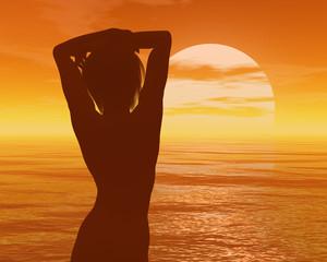 Girl and calm sea sunset