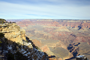 Tourists at Mother Point, Grand Canyon in Winter, Arizona