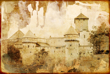swiss castle - picture in retro style