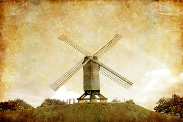 windmill on the hill - picture in retro style