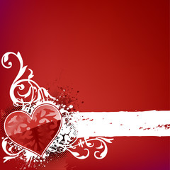 ornate heart background on red with stipe for text