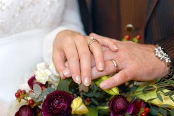 The hands of newlyweds