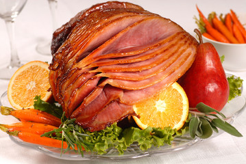 Easter ham glazed with brown sugar and honey
