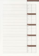 Blank february diary page XXL