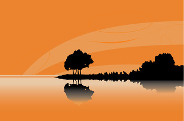 Silhouette of a tree at orange coast