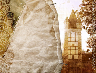 retro paper background with old tower picture