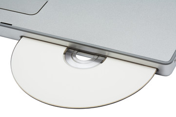 CD-ROM drive in modern notebook on a white background