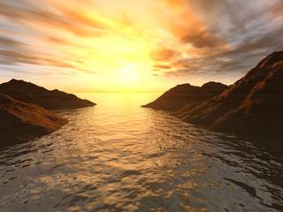 Sunset in a gulf.