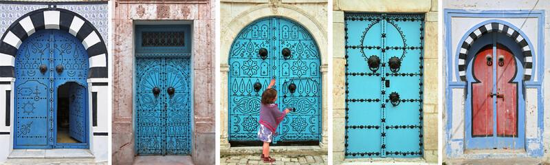 Poster de jardin Tunisie mosaic of arabic doors - tunisia - north africa